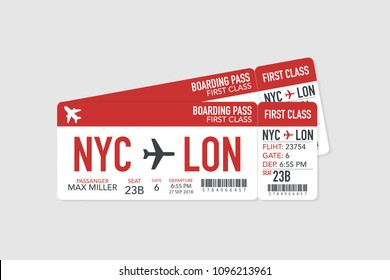 Airline boarding pass tickets to plane for travel journey