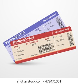 Airline boarding pass tickets to plane for travel journey and holiday. Vector illustration