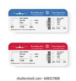 Airline boarding pass tickets set with shadow isolated on white background. Vector illustration
