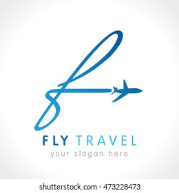 "Airline business travel logo design with letter ""F"". F fly travel company logo. Fly travel vector logo template."