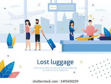 Airline Company Services, Searching and Returning Lost Luggage Trendy Flat Vector Advertising Banner, Poster Template. Man Frustrated and Angry Because of Missing Stuff in His Baggage Illustration