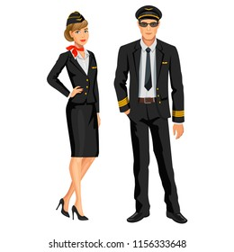 Airline crew, stewardess and pilot. Officer and flight attendant. Professions stewardess and pilot, cartoon characters. Vector illustration