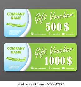 Airline Gift Voucher for 500 and 1000 dollars with airplane
