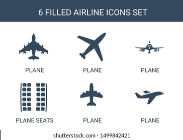 airline icons. Trendy 6 airline icons. Contain icons such as plane, plane seats. airline icon for web and mobile.