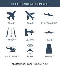 airline icons. Trendy 9 airline icons. Contain icons such as plane, plane landing, runway, jetway, helicopter. airline icon for web and mobile.