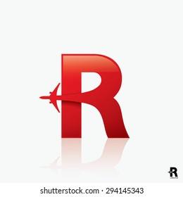"Airline logo design with capital letter ""R"" - vector illustration"