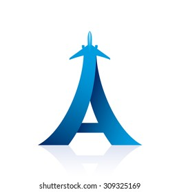 "Airline logo design with capital letter ""A"" - vector illustration"