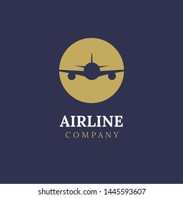 Airline logo plane travel icon. Airport flight world aviation. Aircraft business tourism logo.