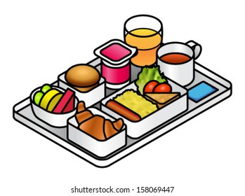 Airline meal - breakfast - on a tray with juice, tea, brioche, fruit, yogurt, croissant, scrambled eggs, sausage, hash brown and salad..