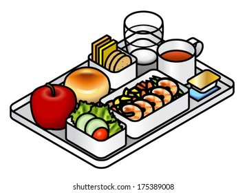 Airline meal - lunch/dinner - on a tray with water, tea, dessert, an apple,bread and butter,  salad, cheese, crackers, and mains of prawns.