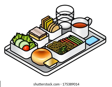 Airline meal - lunch/dinner - on a tray with water, tea, vanilla slice dessert, fruit, salad, cheese, crackers, and mains of vegetarian pasta.