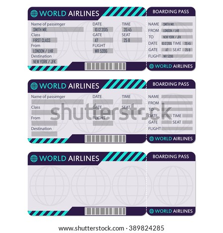 Airline Plane Ticket Boarding Pass Blank Stock Vector Royalty Free