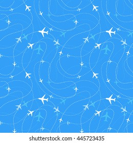 Airline routes with planes icons in blue skies, seamless pattern