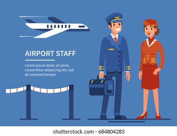 Airline staff characters. Pilot and stewardess. Flat style vector illustration.