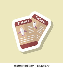 Airline ticket icon, Vector flat long shadow design. Transport concept.