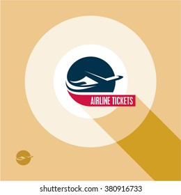 Airline tickets logo. Airplane poster. Airlines. Plane