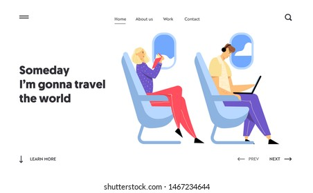 Airline Transportation Service, Travel Website Landing Page, Young Man Sitting in Airplane Working on Laptop, Woman Reading Book, Passengers in Plane Web Page. Cartoon Flat Vector Illustration, Banner
