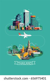 Airline trip to Thailand. Cool vector concept design on travel with abstract modern city landscape, plane and decorative Thailand landscape with landmarks and tourist attractions