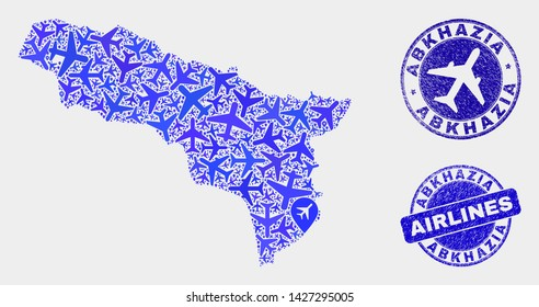 Airline vector Abkhazia map mosaic and scratched stamps. Abstract Abkhazia map is composed with blue flat randomized airline symbols and map locations. Delivery plan in blue colors,