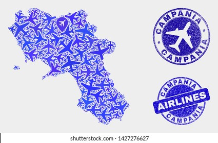 Airline vector Campania region map composition and grunge watermarks. Abstract Campania region map is created of blue flat random airlines symbols and map locations. Flight plan in blue colors,