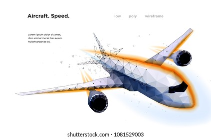 Airliner Aircraft Speed A flying airliner is a top view Vector illustration is executed in the form of particles, geometric art, lines and points Speed Low poly wireframe mesh
