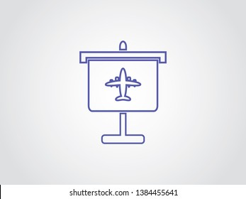 Airliner Aviation Business Transport Tourist Sales Passenger Presentations Icon Symbol Outline