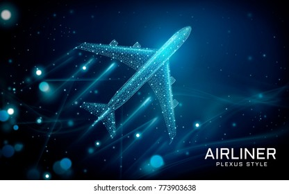 Airliner flying up to the sky, plexus style with lines and points composed as transportation tool