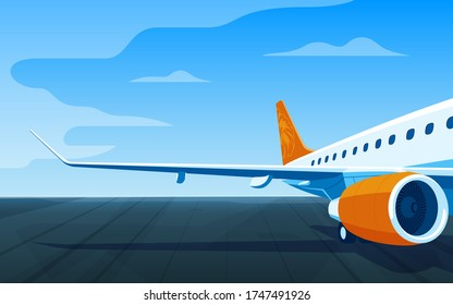 Airliner on a airfield. View of the wing and engine of a long-range passenger aircraft. Vector illustration