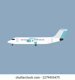 Airliner transportation journey white plane side view. Tourist travel airbus vector flat