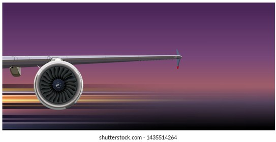 Airliner wing with turbine. Available EPS-10 vector format separated by groups and layers for easy edit