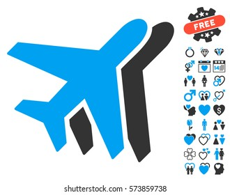 Airlines pictograph with bonus valentine pictograms. Vector illustration style is flat iconic blue and gray symbols on white background.