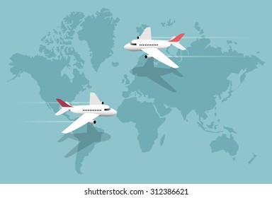 Airlines, planes over world map, vector illustration
