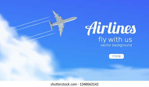 airlines  travel banner. airplane flying in blue sky bottom view