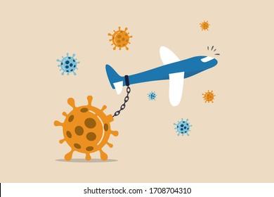 Les compagnies aériennes et l'industrie du voyage ont un impact sur le problème financier failli du concept de crise de Coronavirus COVID-19, chaîne d'avions commerciaux avec gros coronavirus lourd pathogène COVID-19 et ne peut pas voler.