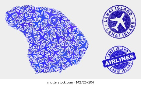 Airlines vector Lanai Island map collage and scratched watermarks. Abstract Lanai Island map is organized with blue flat randomized aircraft symbols and map locations. Delivery plan in blue colors,