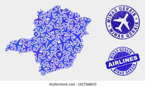 Airlines vector Minas Gerais State map composition and grunge stamps. Abstract Minas Gerais State map is created with blue flat scattered airlines symbols and map markers. Flight plan in blue colors,