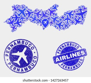 Airlines vector Pernambuco State map collage and grunge seals. Abstract Pernambuco State map is designed from blue flat random airlines symbols and map markers. Delivery plan in blue colors,