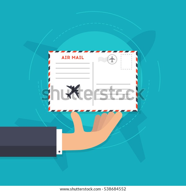 Airmail Concept Hand Holding Envelope Postal Stock Vector (Royalty
