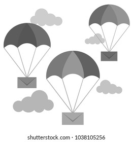 Airmail delivery icon. Envelope shipping parachute. Fast correspondence. Vector illustration
