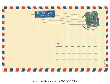 Airmail envelope. Vector base for further processing. Without gradients on one layer.