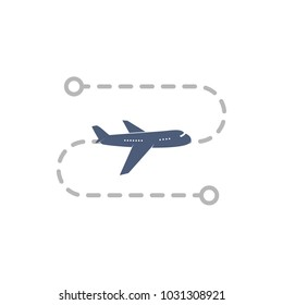 Airoplane logo with flight route from point A to point B vector illustration. Isolated simple plane on white background
