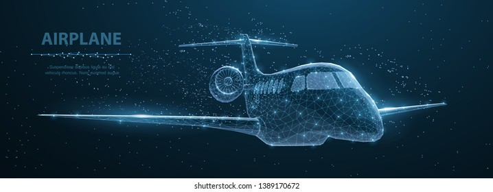 Airplane. Abstract 3d polygonal wireframe airplane on blue night sky with dots and stars. Travel, aircraft, tourism, vacation concept illustration or background