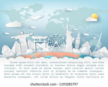 Airplane aerial with check in point travel around the world concept on Background. Top world famous landmark. blank space for text and content paper art, vector, banner, Poster,