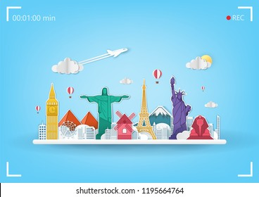 Airplane aerial with check in point travel around the world concept on blue Background. Top world famous landmark  on camera display. blank space for text and content paper art, vector, banner, Poster