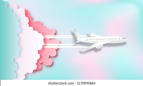 Airplane aerial view on pastel beautiful background as  paper art and craft style concept. vector illustration