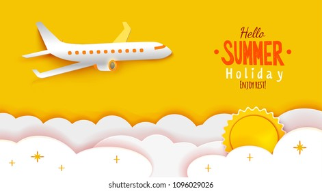 Airplane aerial view paper art cut out on yellow sky background with sun and clouds. Vector illustration for web or print banner. Flight aircraft concept. Enjoy Summer holidays text greetings