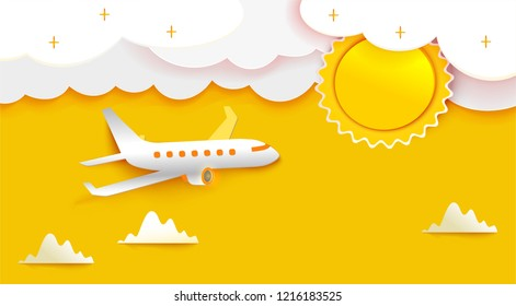 Airplane aerial view paper art cut out on yellow sky background with sun and clouds. Vector illustration for web or print banner. Flight aircraft concept.