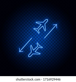 Airplane, air map blue neon vector icon
