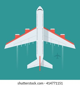 Airplane in the air vector illustration. Flying an airplane with a shadow underneath.