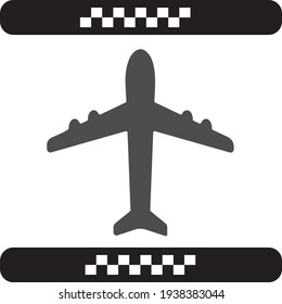 Airplane, Airport symbol with grey airplane